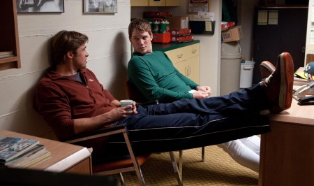 Moneyball - Brad Pitt as Billy Beane and Chris Pratt as Scott Hatteberg
