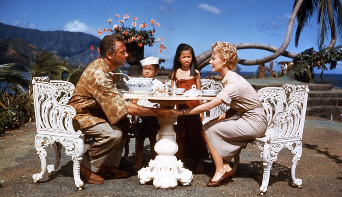 Mitzi Gaynor as Ensign Nellie Forbush crosses lines of nationality and race in SOUTH PACIFIC
