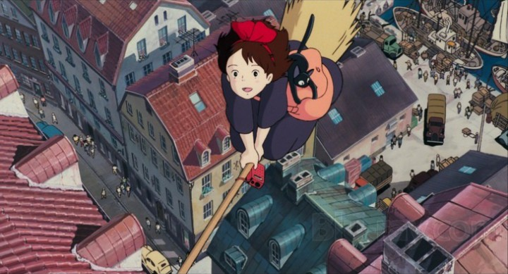 Kiki and Jiji fly over their harbor town