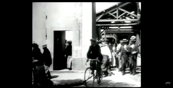 An employee exits the factory in style in a third version.
