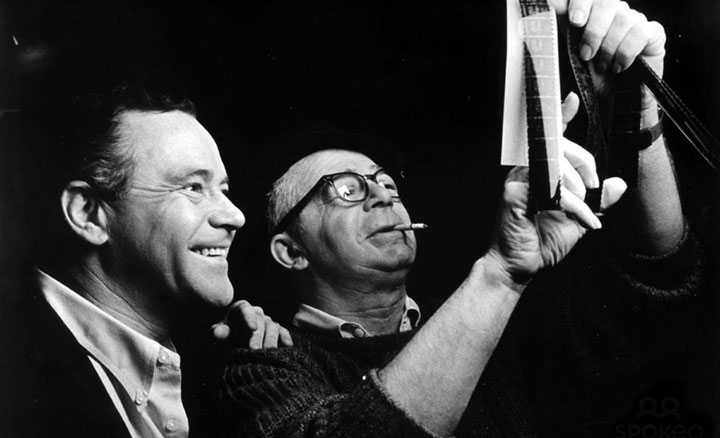 Wilder and Jack Lemmon looking over rushes for The Fortune Cookie