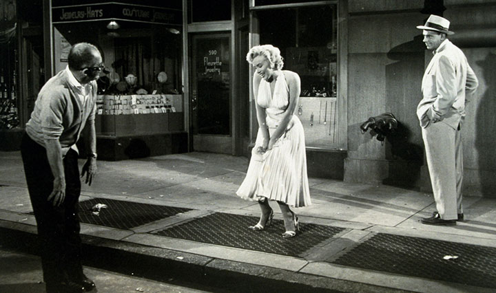 Billy Wilder, Marilyn Monroe, and Tom Ewell filming The Seven Year Itch