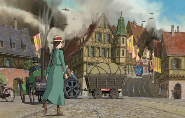 A townscape blends old and new technology, with airplanes in the background and a typical Miyazakian heroine in the foreground