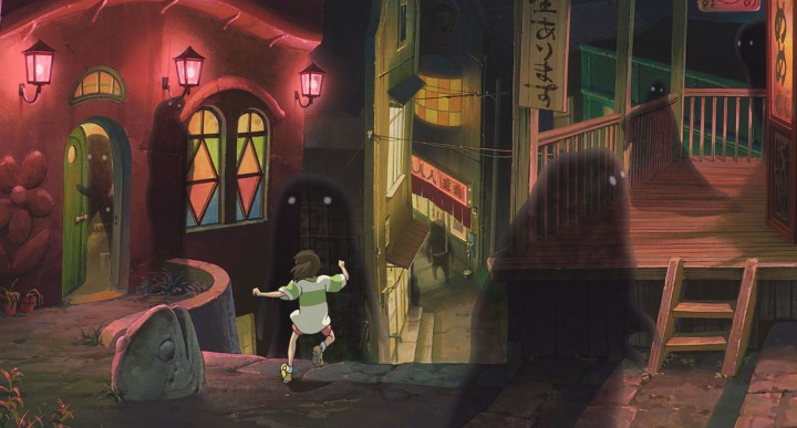 A fairground after dark in SPIRITED AWAY