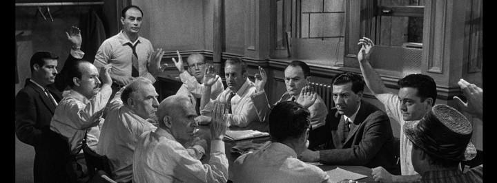 A dozen men in varying states of anger