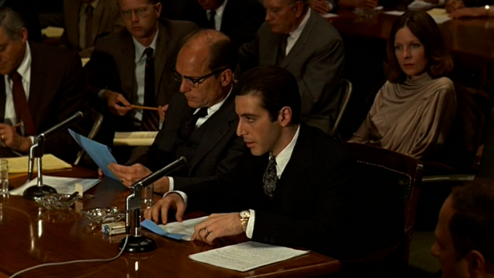 Tom Hagen (Robert Duvall), Michael, and Kay at a Kefauver-inspired hearing