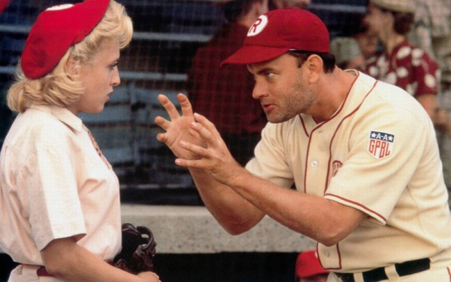 "Bitty Schram and Tom Hanks in a later callback to the ""no crying in baseball"" scene"