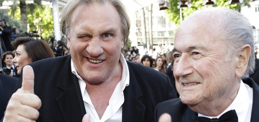 Actor Gerard Depardieu and embattled FIFA president Sepp Blatter at a publicity event