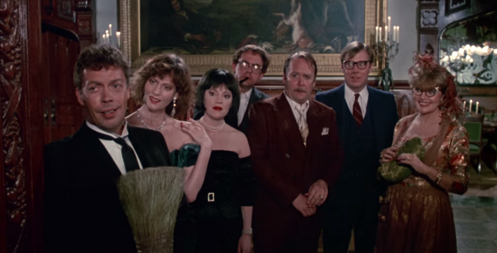 The cast of CLUE: Tim Curry, Lesley Ann Warren, Madeline Kahn, Christopher Lloyd, Martin Mull, Michael McKean, and Eileen Brennan