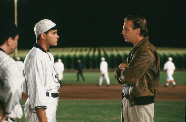 Liotta and Costner under the lights in FIELD OF DREAMS