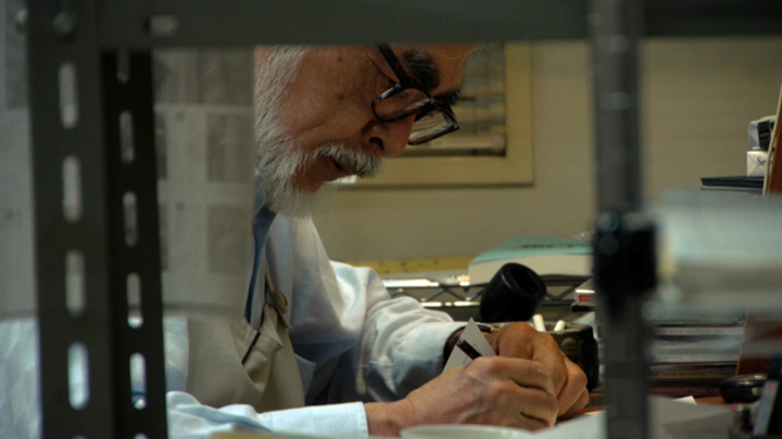 Miyazaki working on The Wind Rises.