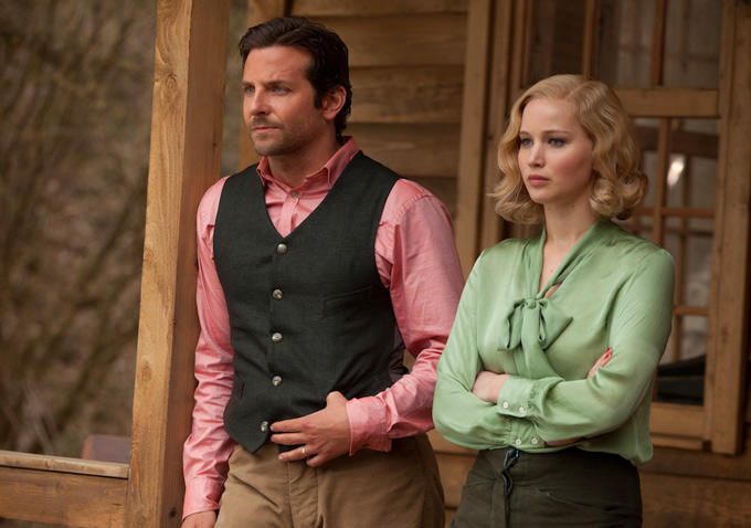 Bradley Cooper and Jennifer Lawrence in 2014's SERENA
