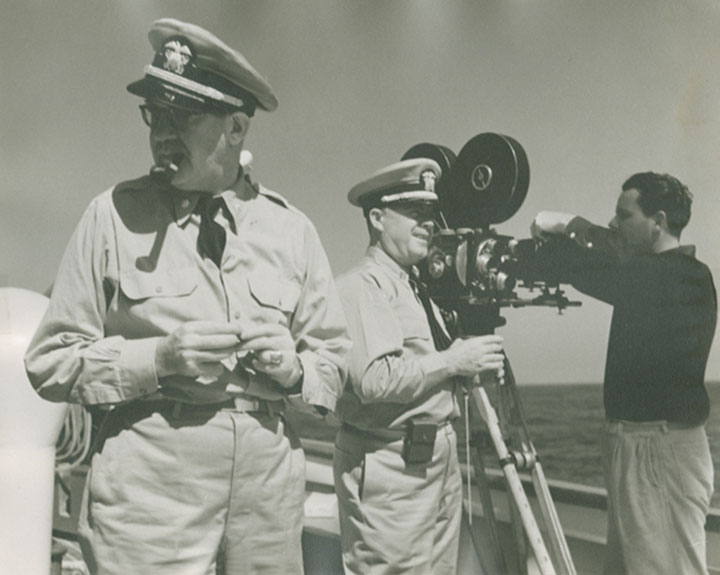 Ford (left) directing on board ship during the Battle of Midway.