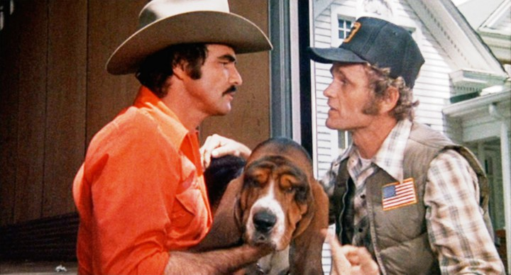 Reynolds as Bandit, Reed as Snowman, and Fred the dog