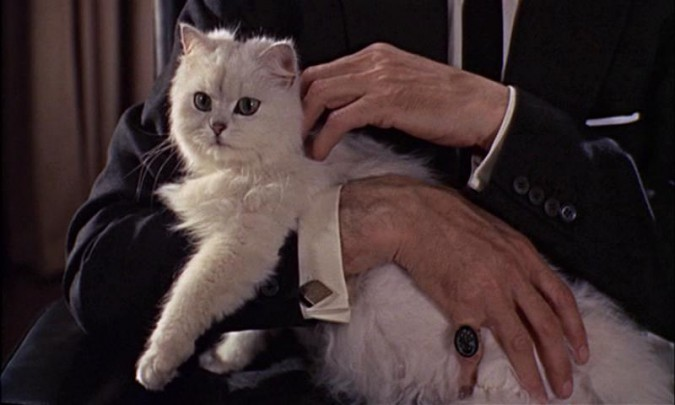 Anthony Dawson and Unknown Feline Actor in FROM RUSSIA WITH LOVE