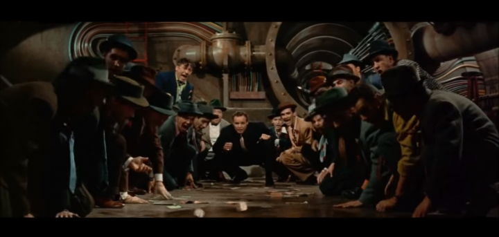Some have criticized Brando's singing, but few would quibble with the framing of GUYS AND DOLLS