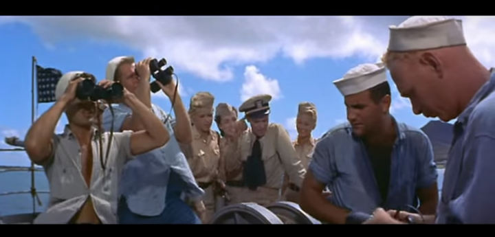 Seamen and nurses take in the view in MISTER ROBERTS